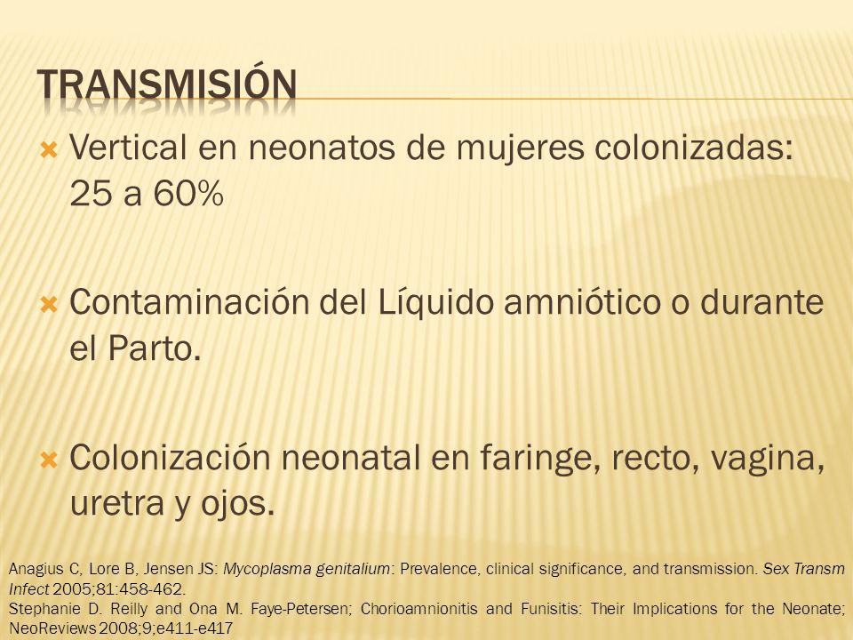 transmisión Vertical en neonatos de mujeres colonizadas: 25 a 60%