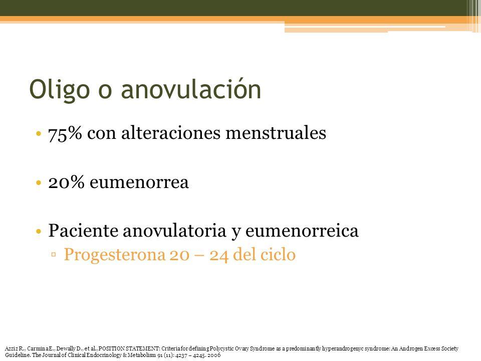 Oligo o anovulación 75% con alteraciones menstruales 20% eumenorrea