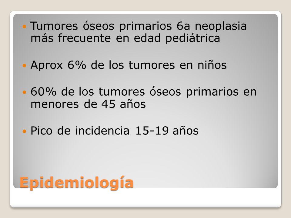 Tumores óseos primarios 6a neoplasia más frecuente en edad pediátrica
