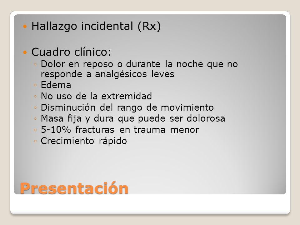 Presentación Hallazgo incidental (Rx) Cuadro clínico: