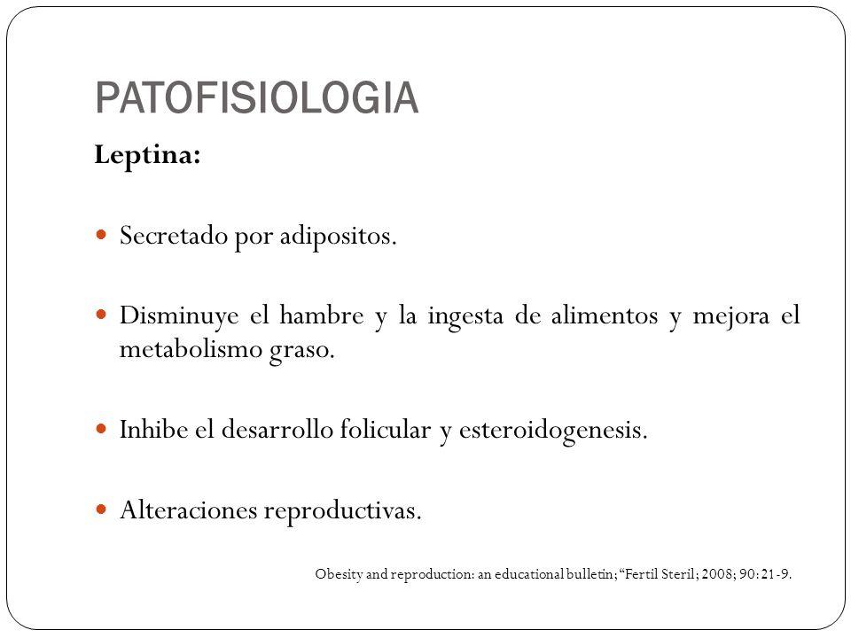 PATOFISIOLOGIA Leptina: Secretado por adipositos.
