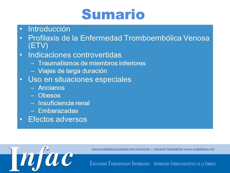 Sumario Introducción. Profilaxis de la Enfermedad Tromboembólica Venosa (ETV) Indicaciones controvertidas.