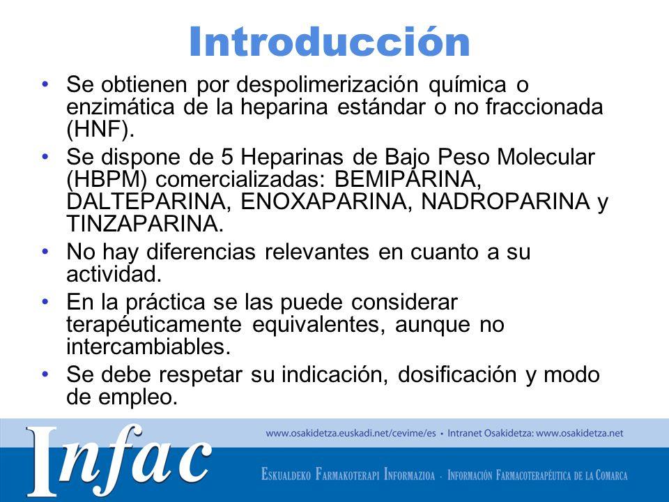 Introducción Se obtienen por despolimerización química o enzimática de la heparina estándar o no fraccionada (HNF).