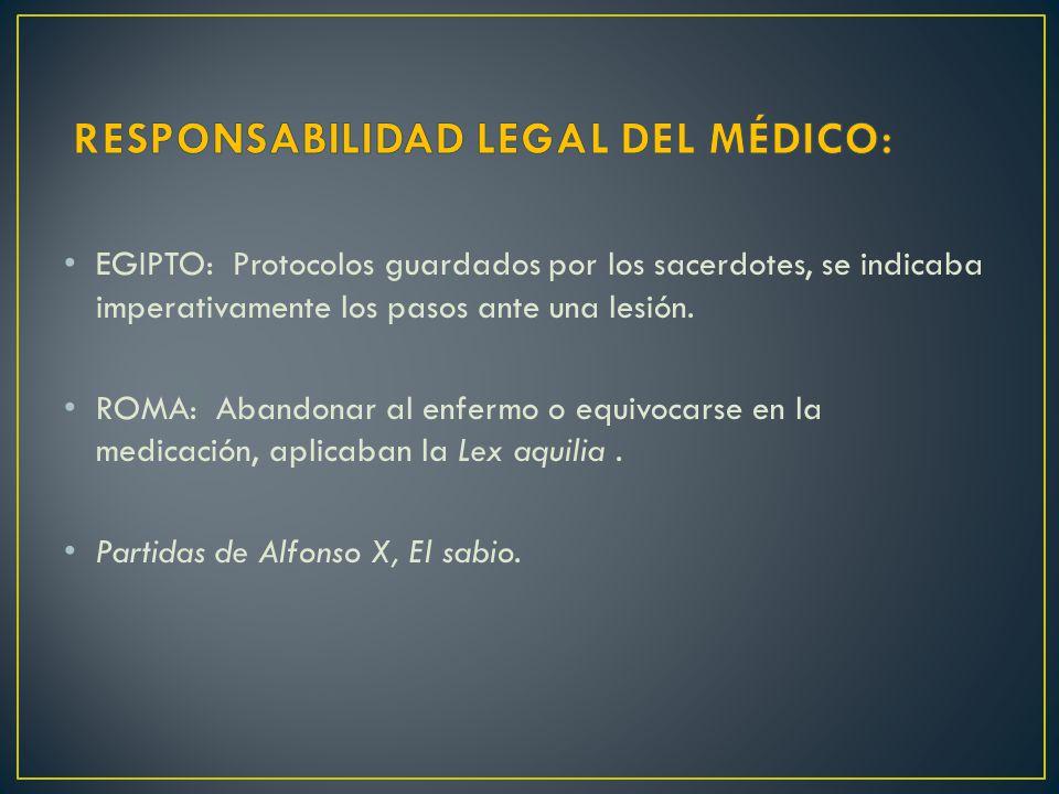 RESPONSABILIDAD LEGAL DEL MÉDICO: