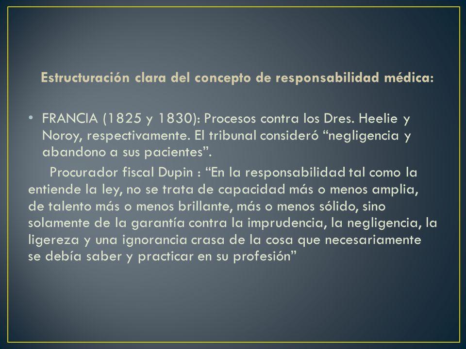 Estructuración clara del concepto de responsabilidad médica: