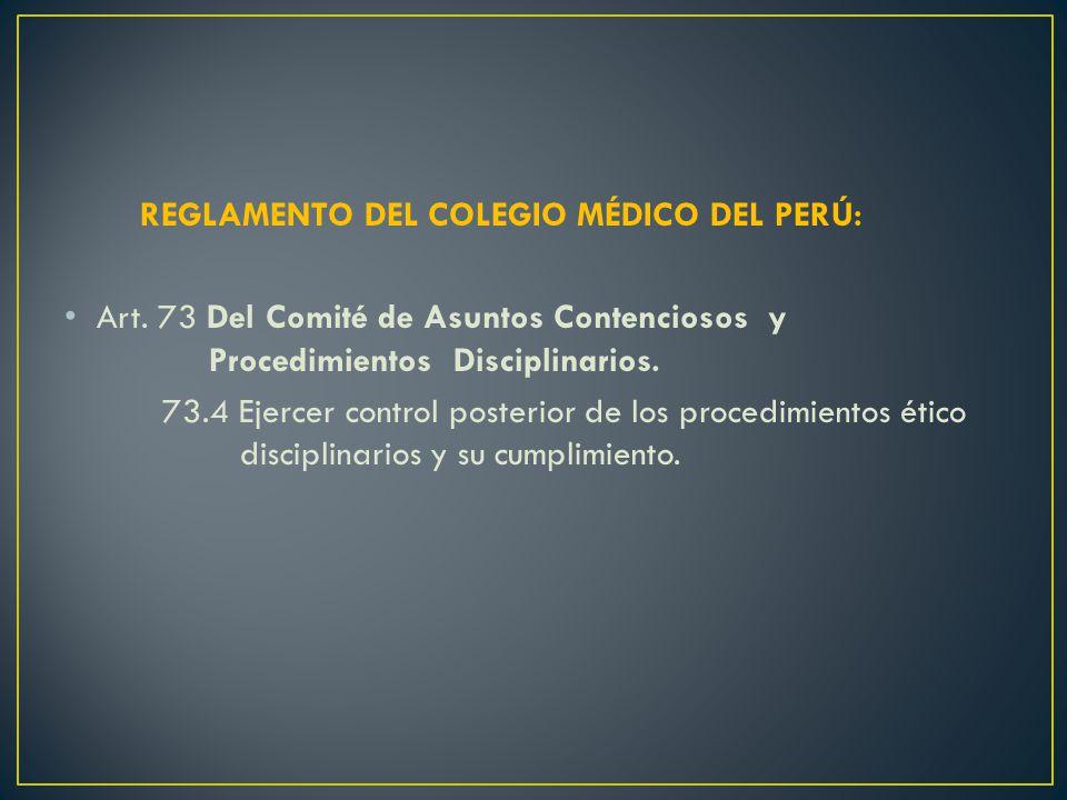 REGLAMENTO DEL COLEGIO MÉDICO DEL PERÚ: