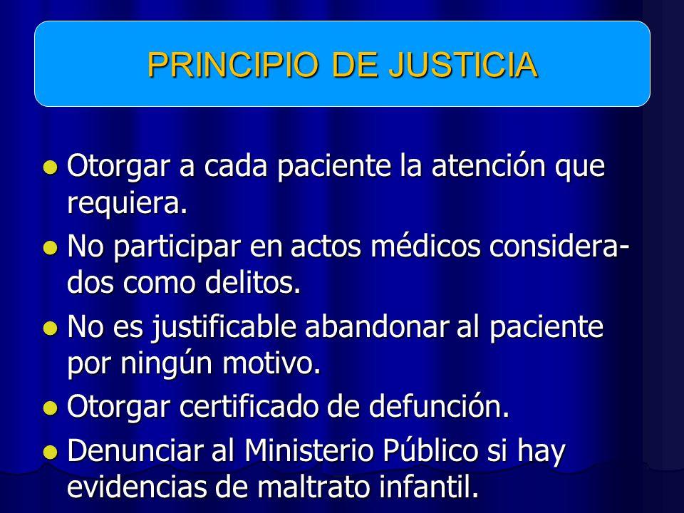 PRINCIPIO DE JUSTICIA Otorgar a cada paciente la atención que requiera. No participar en actos médicos considera-dos como delitos.
