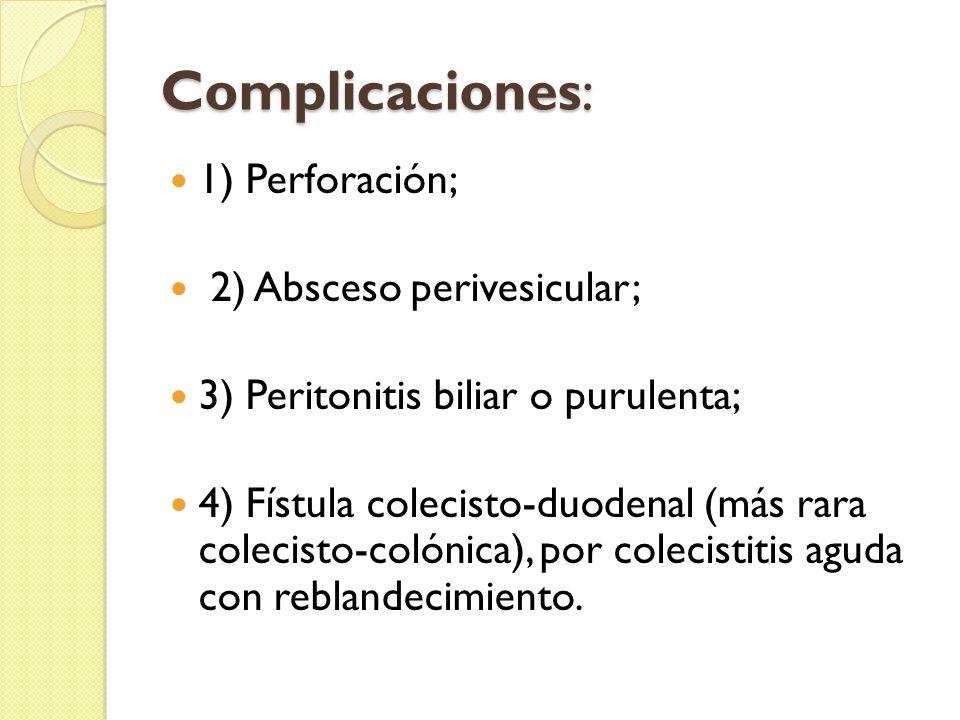 Complicaciones: 1) Perforación; 2) Absceso perivesicular;