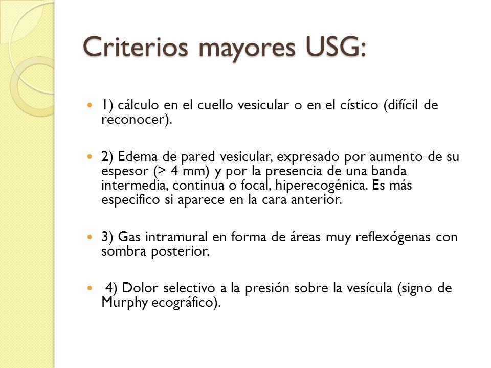Criterios mayores USG: