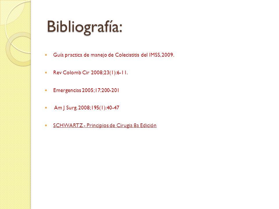 Bibliografía: Guía practica de manejo de Colecistitis del IMSS, 2009.