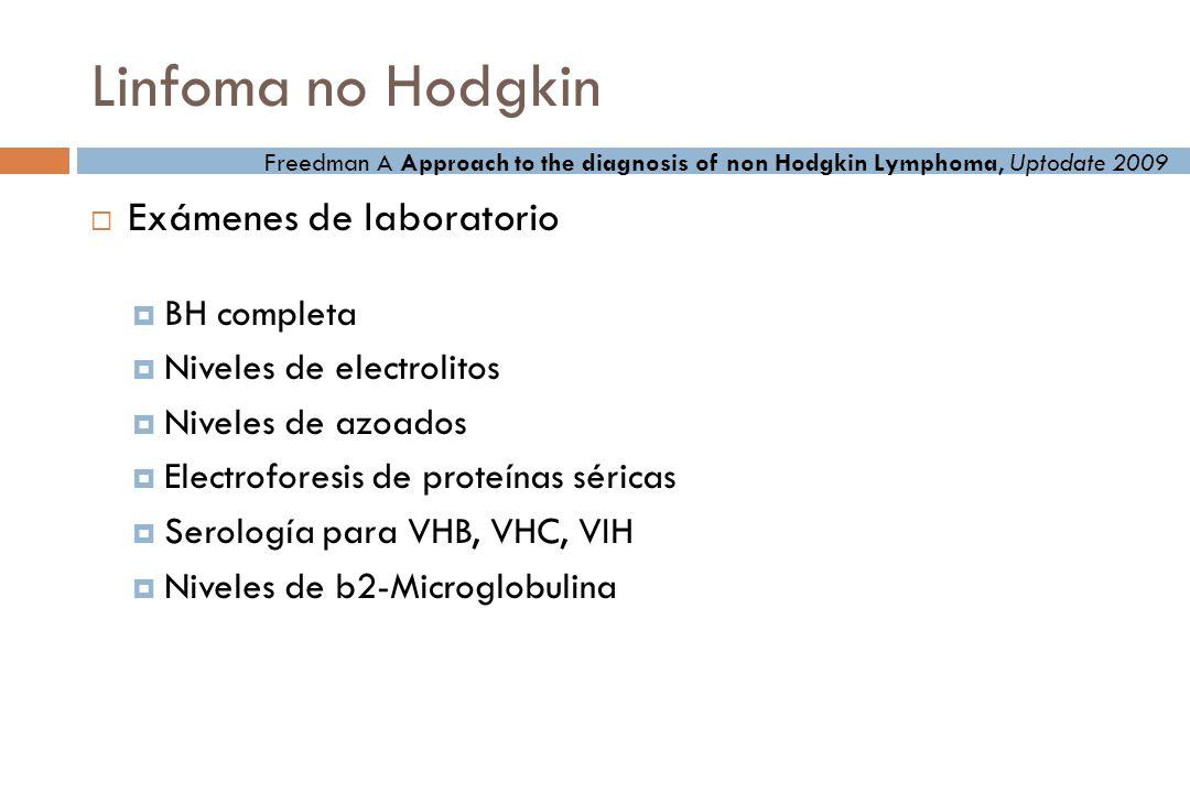 Linfoma no Hodgkin Exámenes de laboratorio BH completa