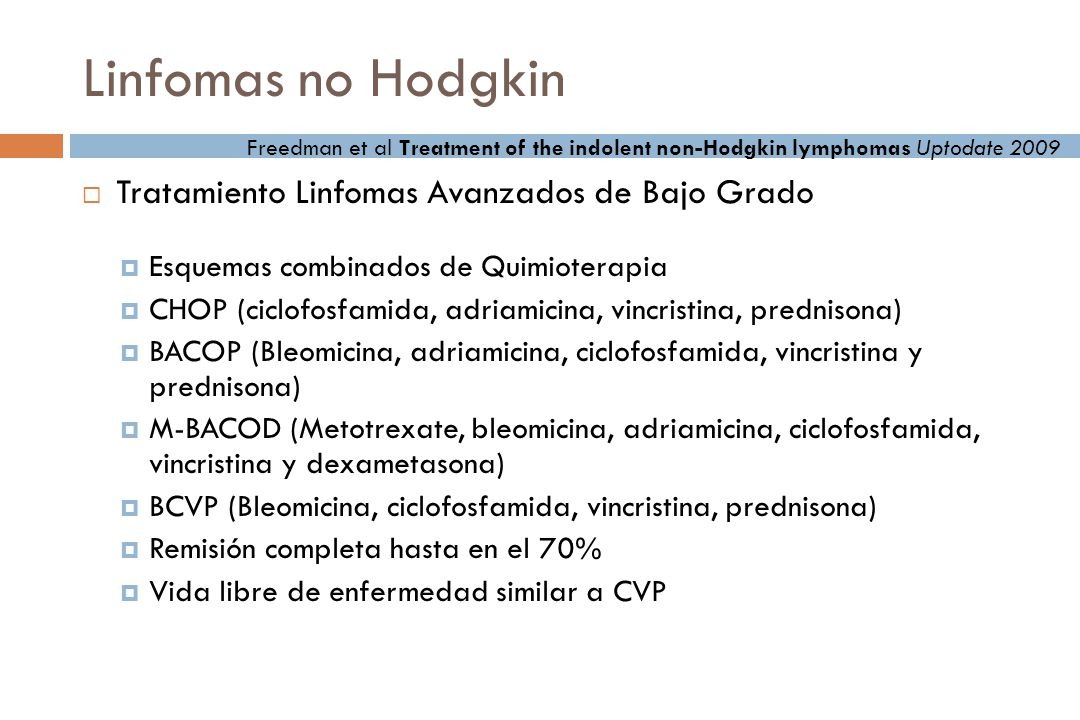 Linfomas no Hodgkin Tratamiento Linfomas Avanzados de Bajo Grado