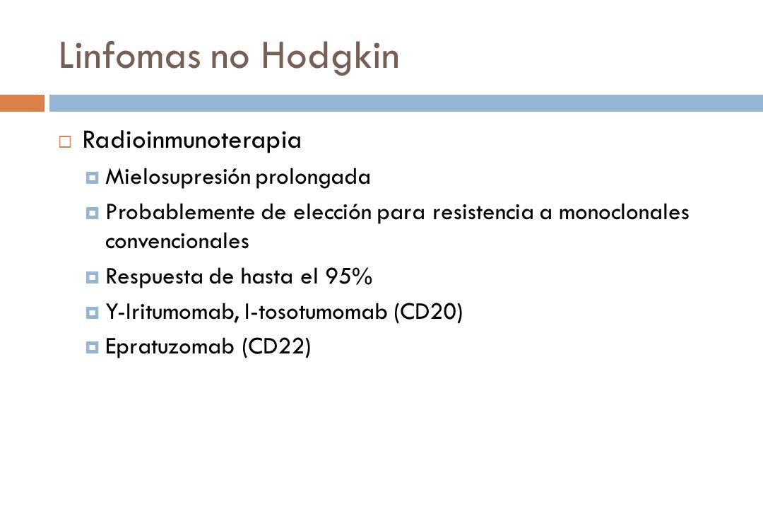 Linfomas no Hodgkin Radioinmunoterapia Mielosupresión prolongada