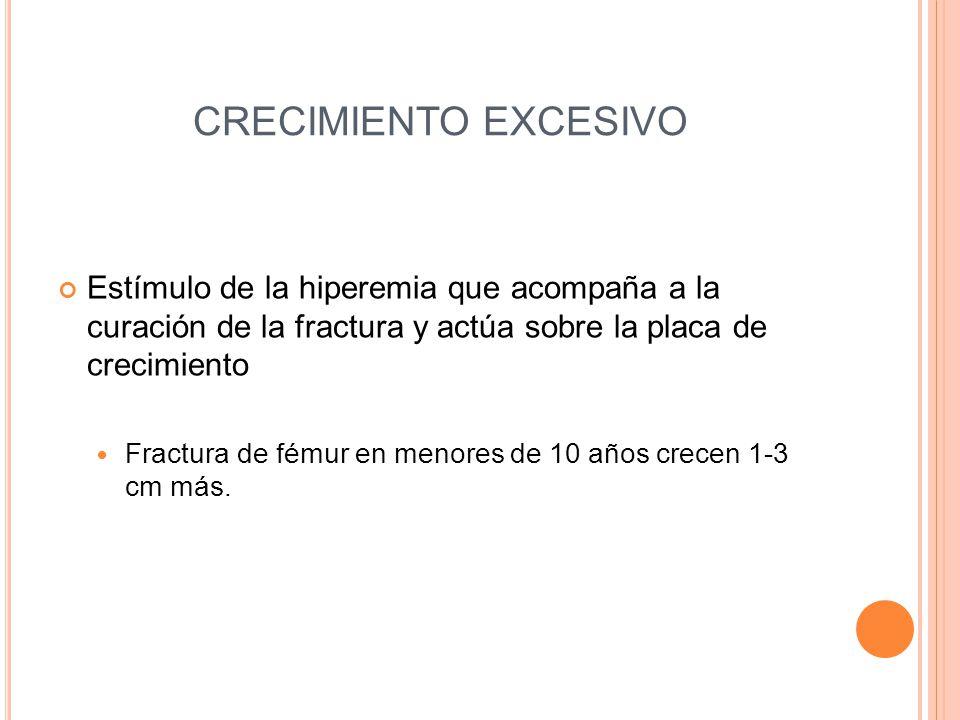 CRECIMIENTO EXCESIVO Estímulo de la hiperemia que acompaña a la curación de la fractura y actúa sobre la placa de crecimiento.