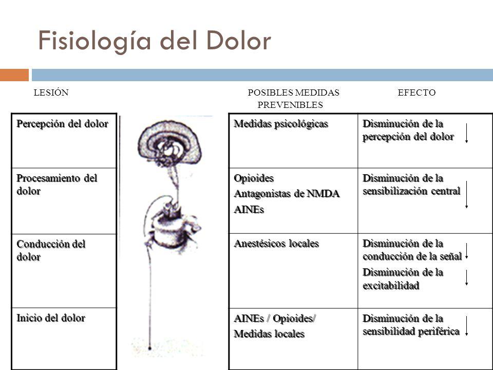 Fisiología del Dolor LESIÓN POSIBLES MEDIDAS EFECTO PREVENIBLES
