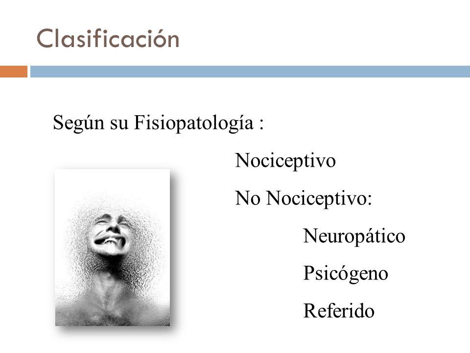 Clasificación Según su Fisiopatología : Nociceptivo No Nociceptivo: