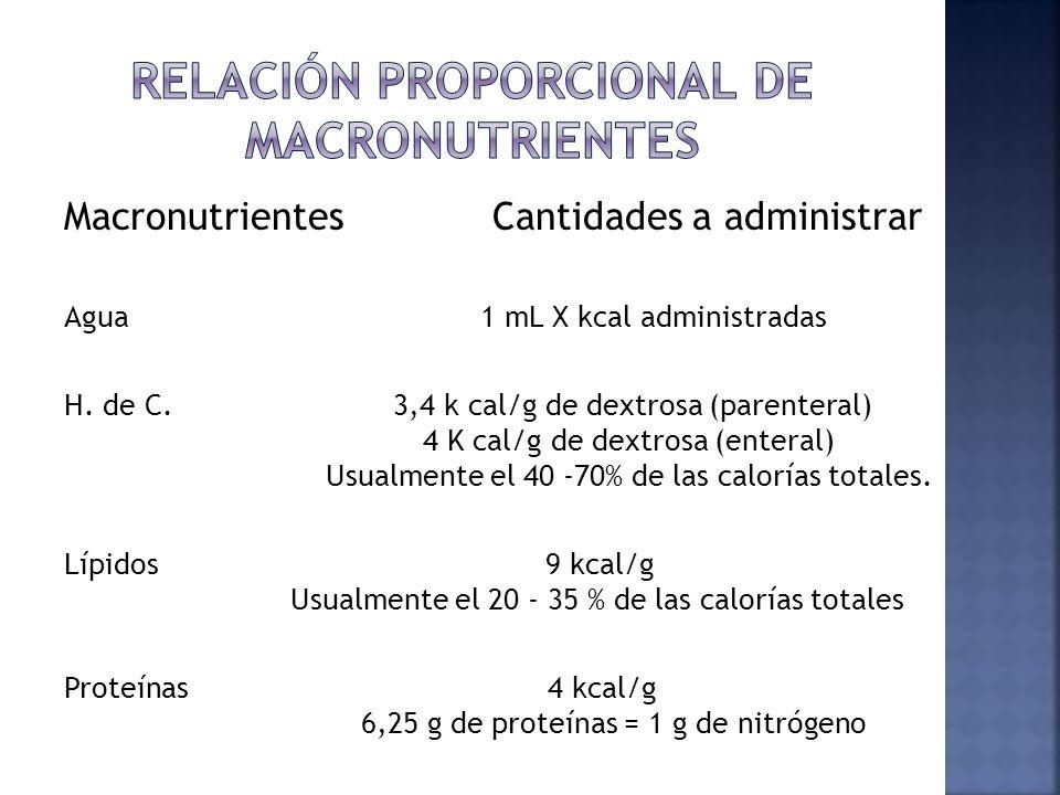 Relación proporcional de macronutrientes