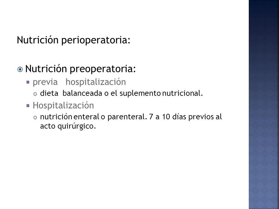Nutrición perioperatoria: Nutrición preoperatoria: