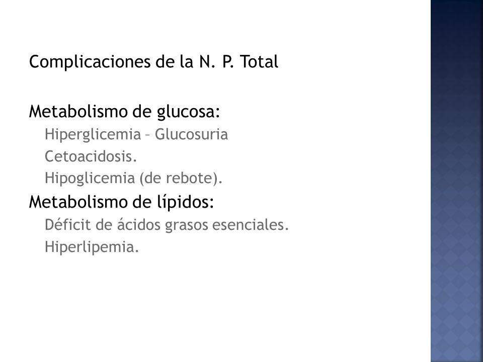 Complicaciones de la N. P. Total Metabolismo de glucosa:
