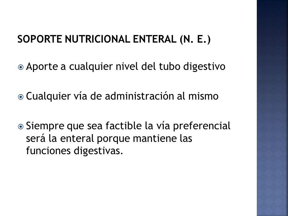 SOPORTE NUTRICIONAL ENTERAL (N. E.)