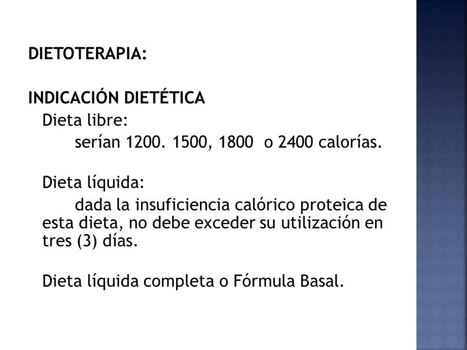 DIETOTERAPIA: INDICACIÓN DIETÉTICA Dieta libre: serían 1200