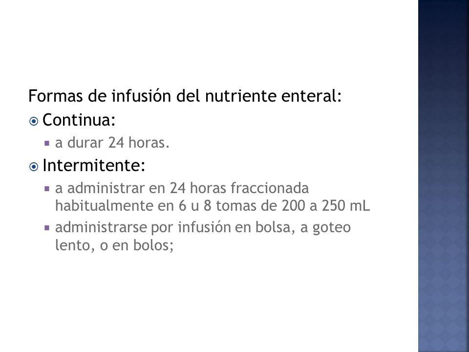 Formas de infusión del nutriente enteral: Continua: Intermitente: