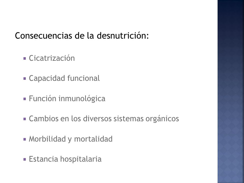 Consecuencias de la desnutrición: