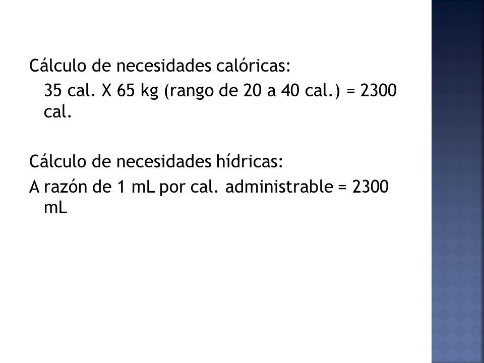 Cálculo de necesidades calóricas: