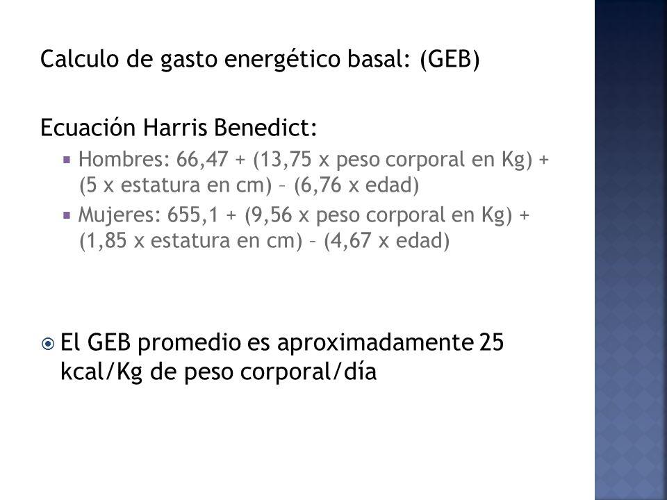 Calculo de gasto energético basal: (GEB) Ecuación Harris Benedict: