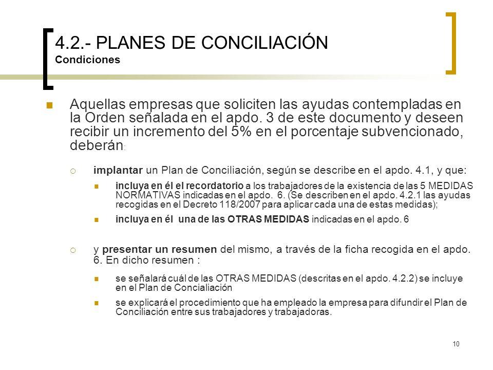 4.2.- PLANES DE CONCILIACIÓN Condiciones