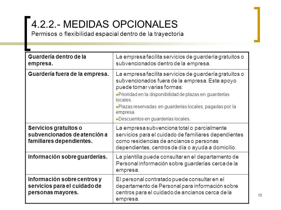 4.2.2.- MEDIDAS OPCIONALES Permisos o flexibilidad espacial dentro de la trayectoria