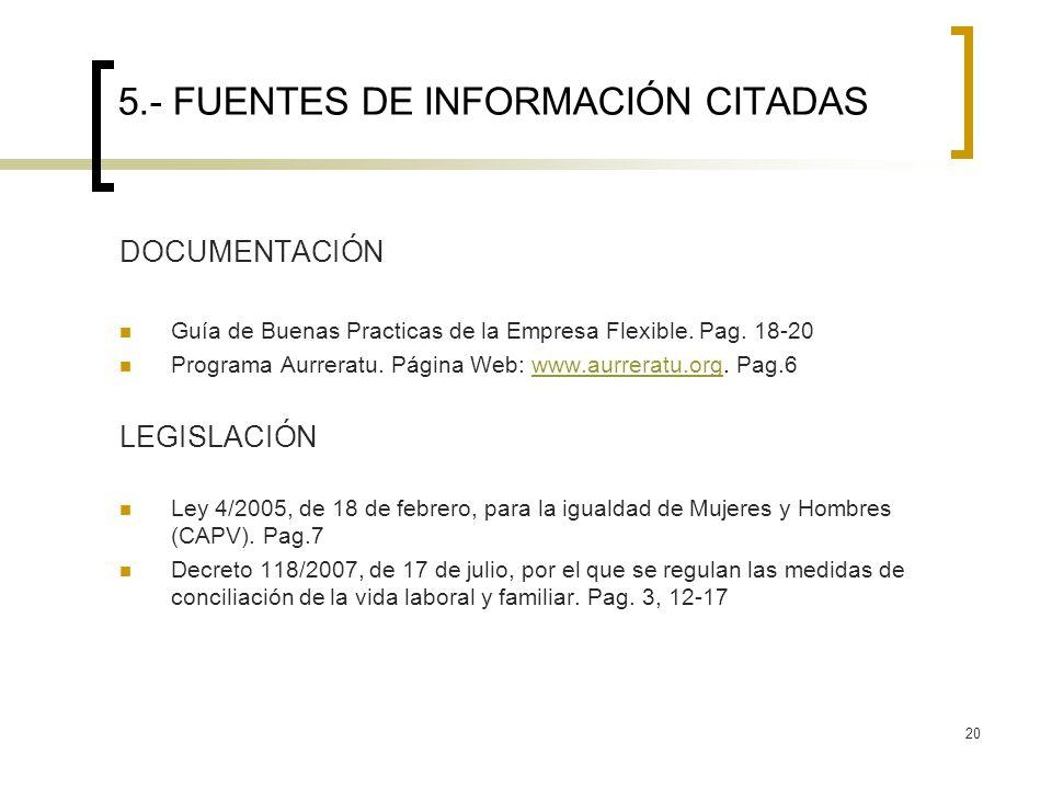 5.- FUENTES DE INFORMACIÓN CITADAS
