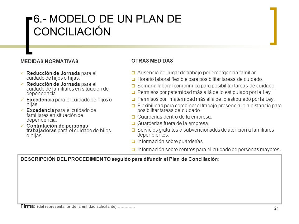 6.- MODELO DE UN PLAN DE CONCILIACIÓN
