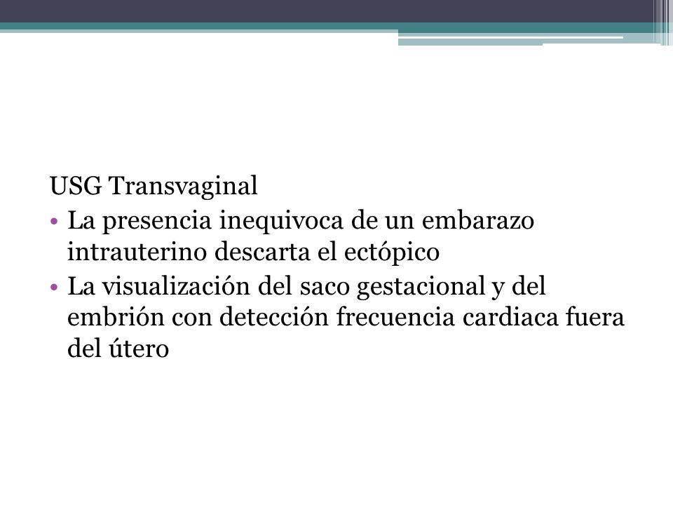 USG Transvaginal La presencia inequivoca de un embarazo intrauterino descarta el ectópico.