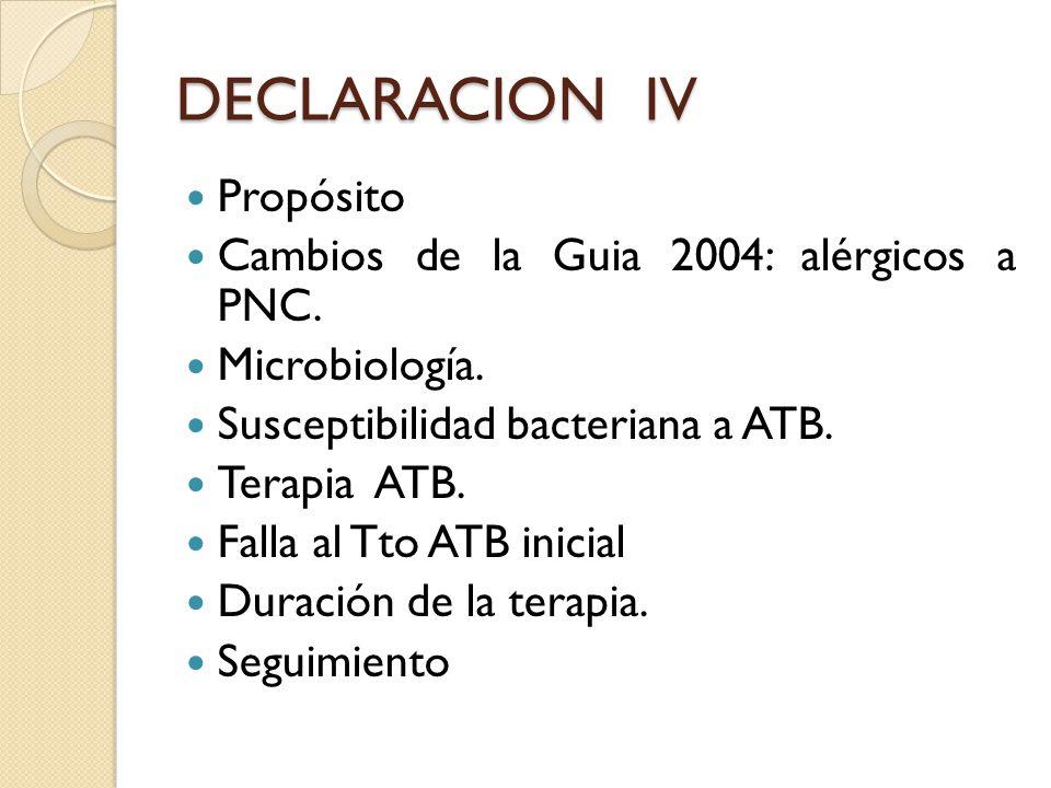 DECLARACION IV Propósito Cambios de la Guia 2004: alérgicos a PNC.
