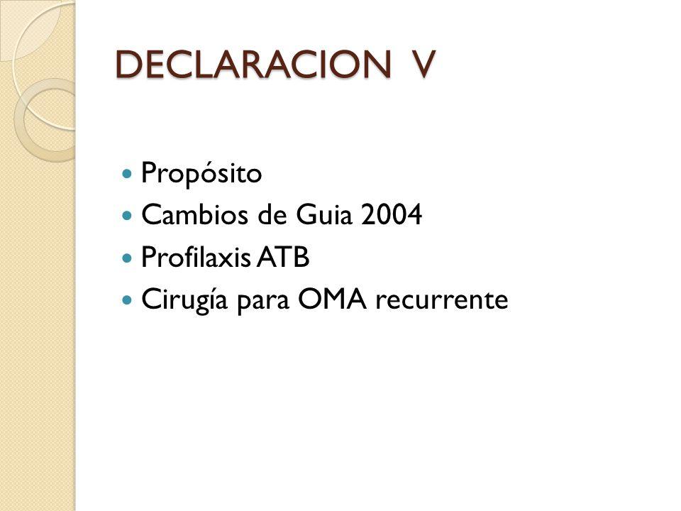 DECLARACION V Propósito Cambios de Guia 2004 Profilaxis ATB