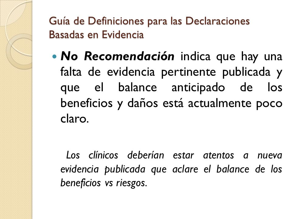 Guía de Definiciones para las Declaraciones Basadas en Evidencia
