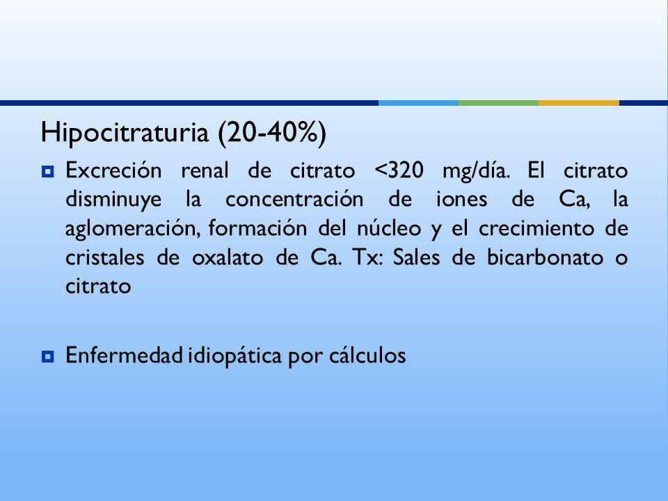 Hipocitraturia (20-40%)