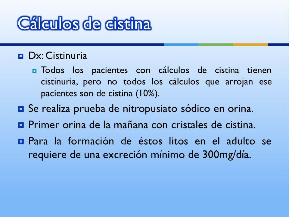 Cálculos de cistina Se realiza prueba de nitropusiato sódico en orina.