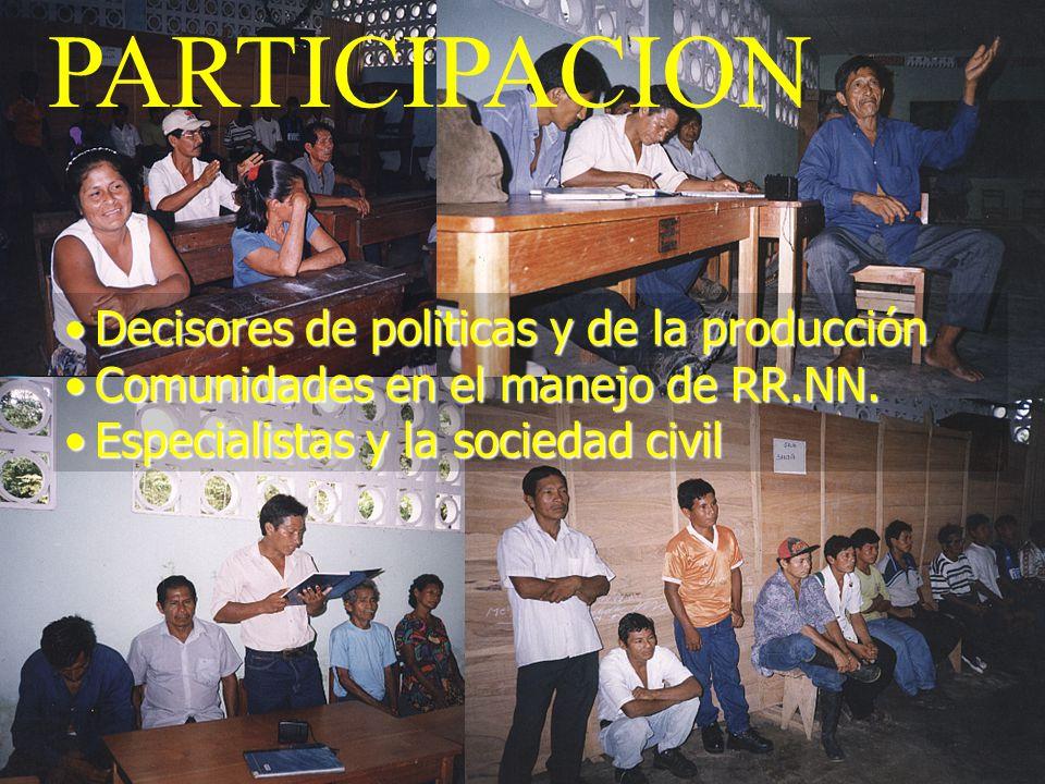 PARTICIPACION Decisores de politicas y de la producción