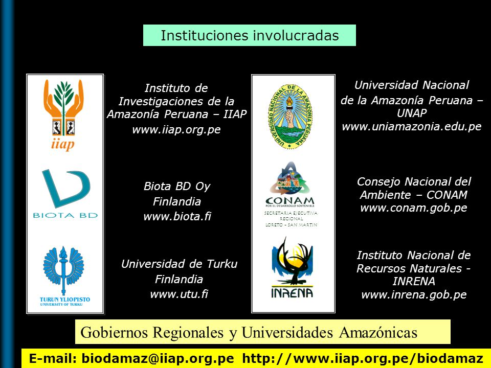 E-mail: biodamaz@iiap.org.pe http://www.iiap.org.pe/biodamaz