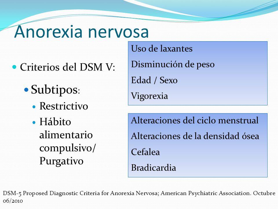 Anorexia nervosa Subtipos: Criterios del DSM V: Restrictivo