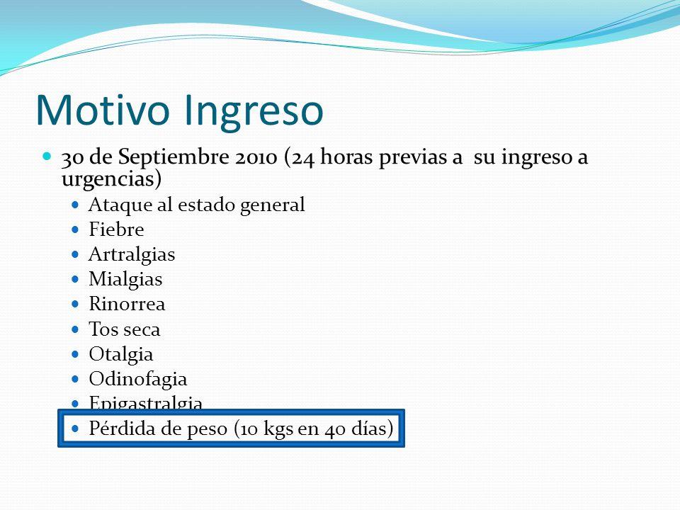 Motivo Ingreso 30 de Septiembre 2010 (24 horas previas a su ingreso a urgencias) Ataque al estado general.