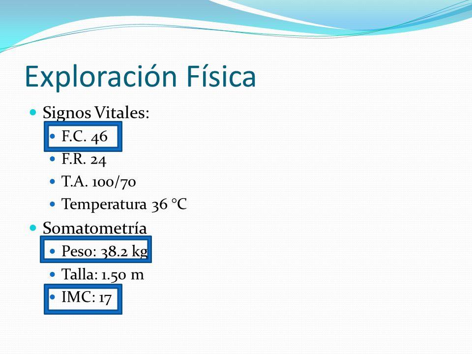 Exploración Física Signos Vitales: Somatometría F.C. 46 F.R. 24