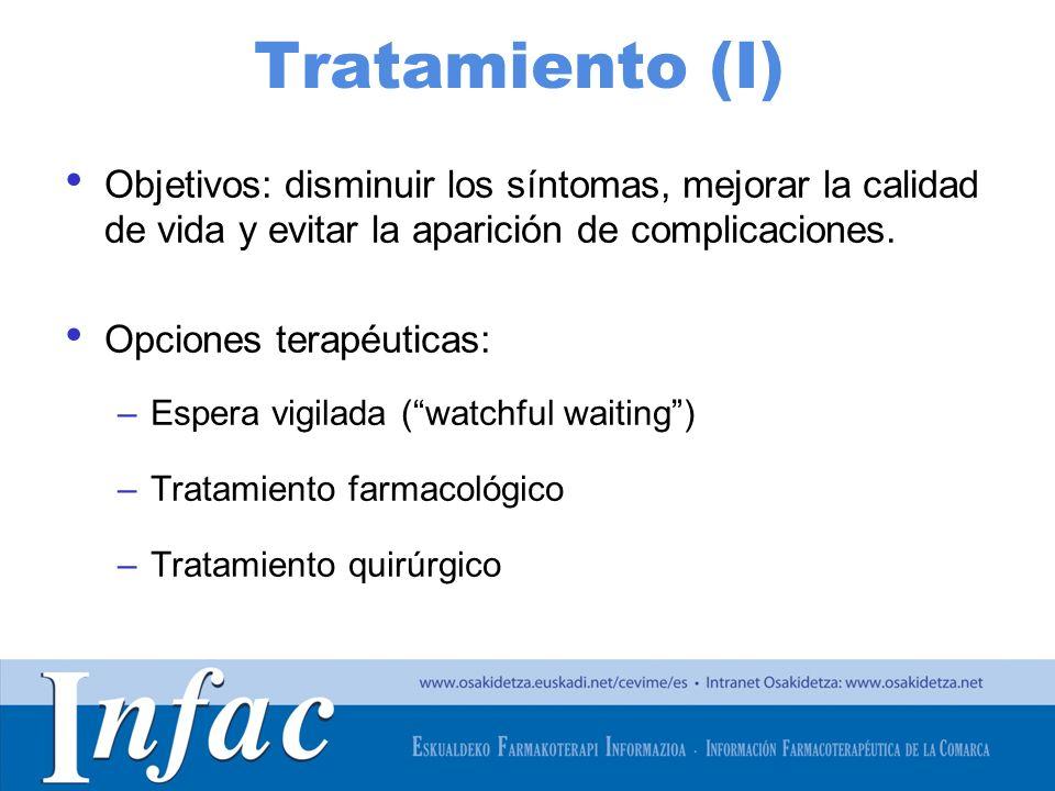 Tratamiento (I) Objetivos: disminuir los síntomas, mejorar la calidad de vida y evitar la aparición de complicaciones.