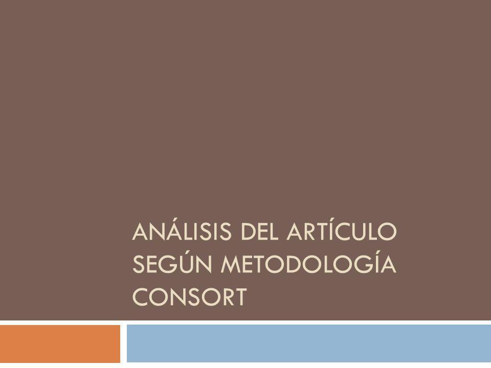 Análisis del artículo según metodología CONSORT
