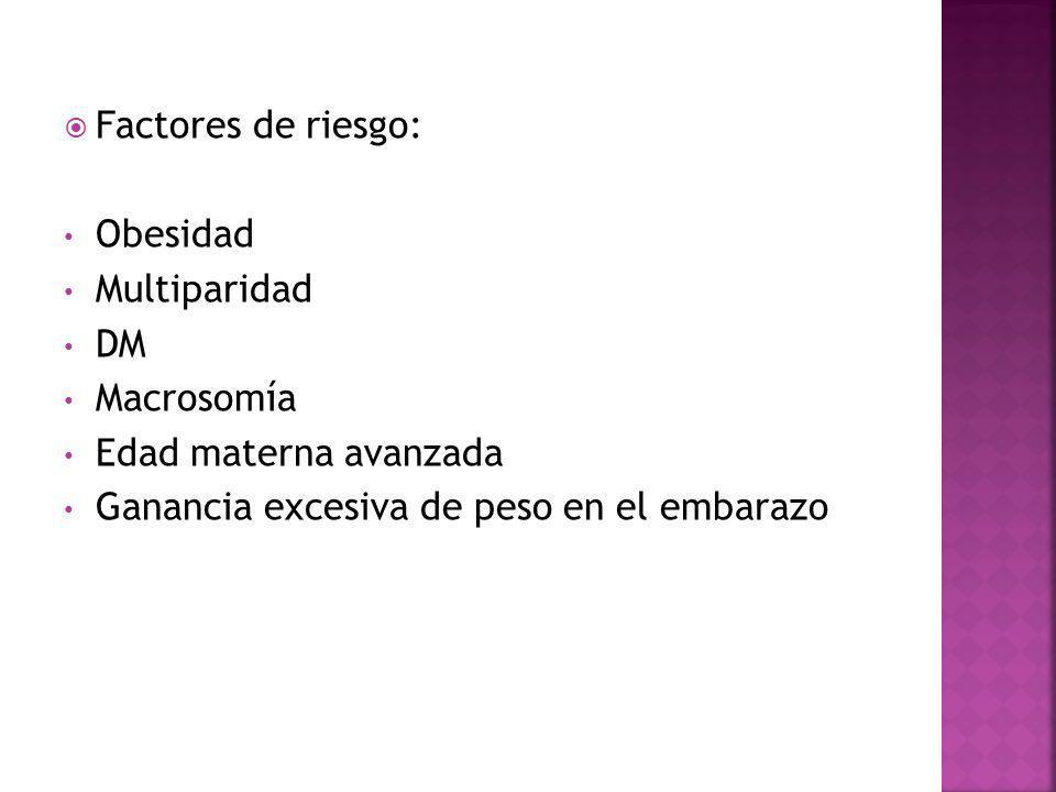 Factores de riesgo: Obesidad. Multiparidad. DM.