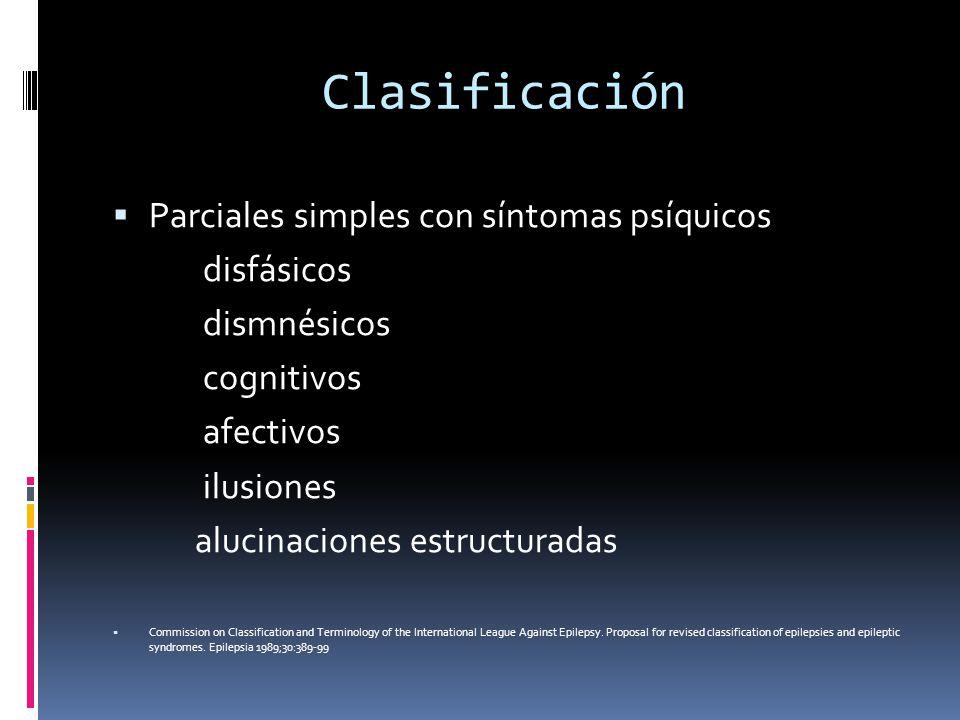 Clasificación Parciales simples con síntomas psíquicos disfásicos