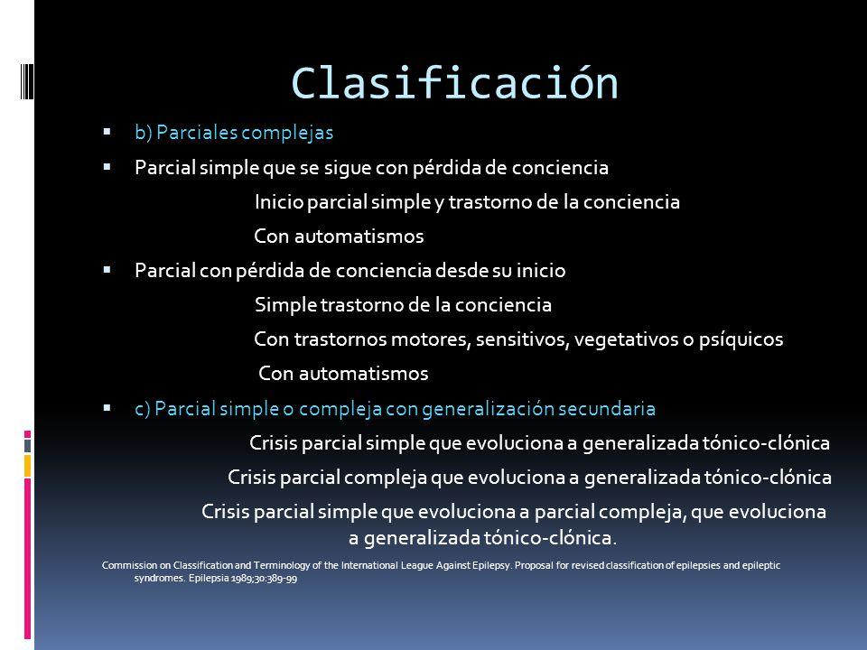 Clasificación b) Parciales complejas