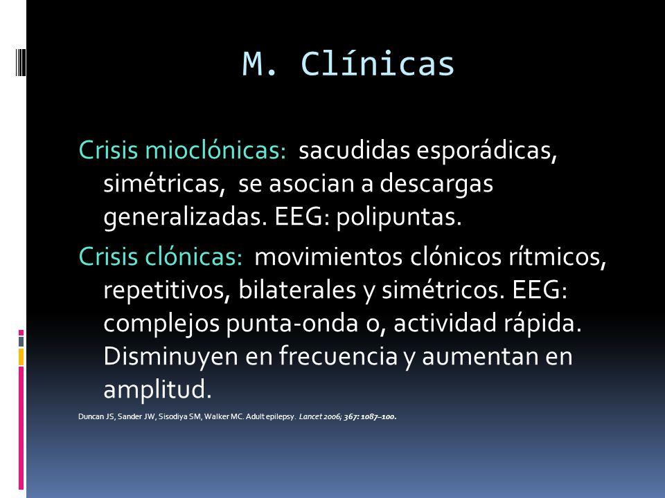 M. Clínicas Crisis mioclónicas: sacudidas esporádicas, simétricas, se asocian a descargas generalizadas. EEG: polipuntas.